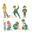 a set children involved in ecology vector image vector image