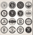 anniversary retro labels collection 50 years vector image vector image