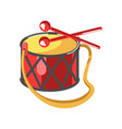 baby drum with diamond ornament and two red sticks vector image vector image