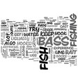bass fishintips text word cloud concept vector image vector image