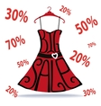 Big Sale letteringDress shape on hangerfalling vector image