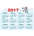 Blue Rooster symbol 2017 and calendar Cartoon