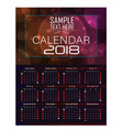 calendar for 2018 abstract background vector image