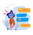 cartoon woman sending message smartphone vector image