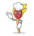 chef match stick character cartoon vector image vector image