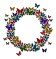 Circle frame with butterflies for your text vector image