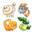 collection cute cartoon monster character vector image vector image