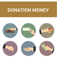 Colorful icons donations of money vector image vector image