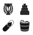 cup wedding cake and other web icon in black vector image vector image