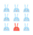 cute bunnies with different vector image