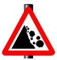 danger falling rocks traffic sign vector image vector image