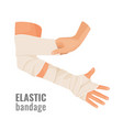 elastic medical bandage wrapped around hurt human vector image
