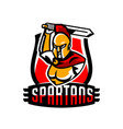 emblem logo badge spartan with a sword ancient vector image vector image