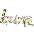 first amendment text background word cloud concept vector image vector image