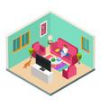 freelance remote work isometric concept vector image