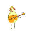 funny avocado playing guitar emotional fruit vector image