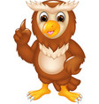 funny owl cartoon posing with smile and pointing vector image vector image