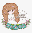 girl communuon with dress and flowers plants vector image vector image