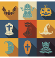 halloween flat style icons set vector image vector image