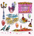 hand drawing and watercolor set of venice sketch vector image vector image