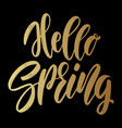 hello spring lettering phrase for greeting card vector image vector image