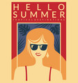 hello summer vacation destinations promo poster vector image