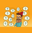 hipster solves the problem questions and vector image vector image