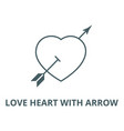 love heart with arrow line icon linear vector image vector image
