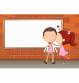 Lovers in front of an empty wooden board vector image vector image