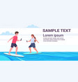 man woman surfers holding cellphones surfing on vector image vector image