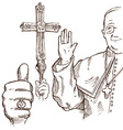 pope hand draw element vector image vector image