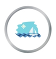 Sailing boat on the sea icon in cartoon style vector image