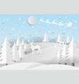santa claus on the sky with snowflake deer and vector image vector image