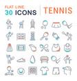 Set line icons tennis
