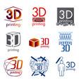 set logos 3d printing and 3d pens vector image vector image