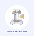 sewing embroidery machine flat line icon logo vector image vector image