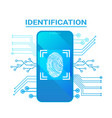 smart phone identification scanning fingerprint vector image