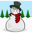 Snowman with a cold vector image