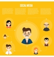 Social media banner with connected people vector image