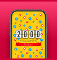 thank you 2000 followers numbers congratulating vector image vector image