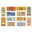 tickets to amusement park funfair carnival admits vector image