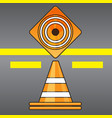 traffic cones top and side view on road background vector image
