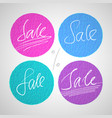 round sale labels with hand drawn lettering vector image