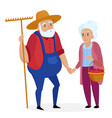 old farmer with his wife elderly couple senior vector image