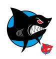 Shark logo Angry shark in circle logo for sports vector image