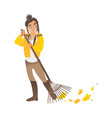 a cute girl or young woman sweeps leaves with vector image vector image