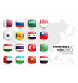 asian countries flags 3d glossy icons set vector image