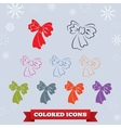 Bow icon Holiday symbol New Year Christmas vector image