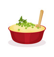bowl of mashed potato traditional christmas food vector image