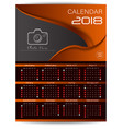 calendar for 2018 brown background design templat vector image vector image